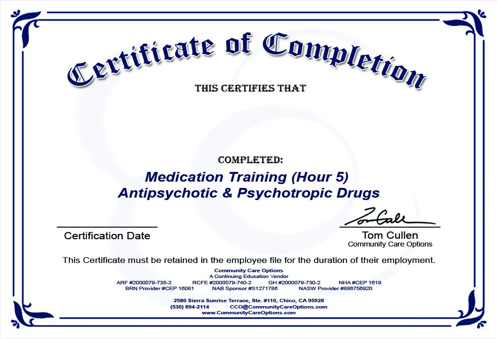 Cco Initial Medication Training On Antipsychotic Psychotropic Drugs