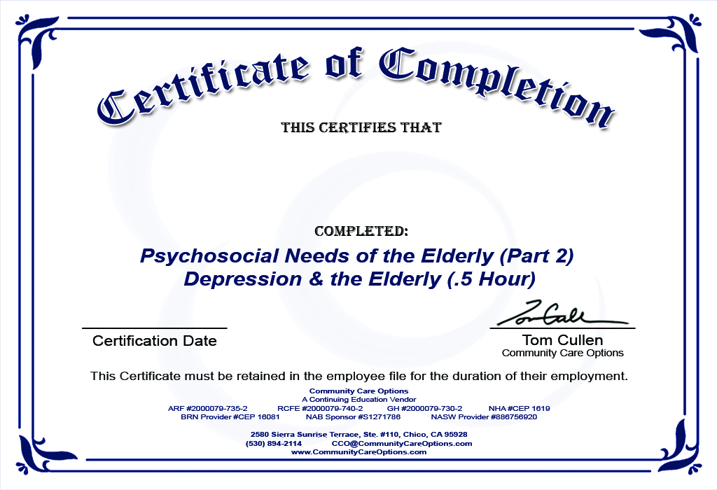 Cco Initial Psychosocial Needs Of The Elderly Part 2